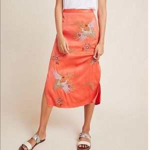 Crane Embroidered Skirt